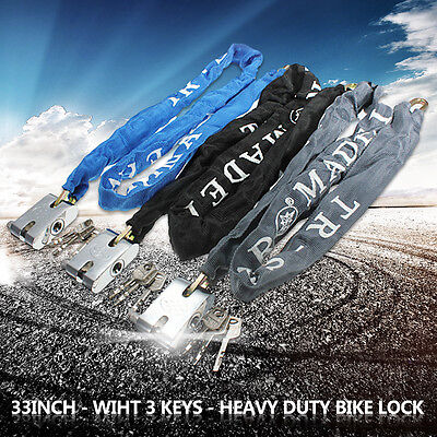 Heavy Duty High Secuirty Motorcycle Bicycle Bike Scooter Chain PadLock & 3 keys