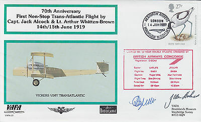 VAFA 13 1989 Trans-Atlantic Flight 70th Concorde 2 x Pilot Mills/Harkness Signed