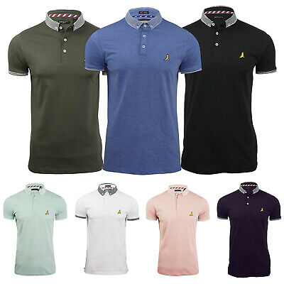 Mens Polo TShirt Jacquard Collared Cuff Short Sleeve Button Casual Plain Fitted