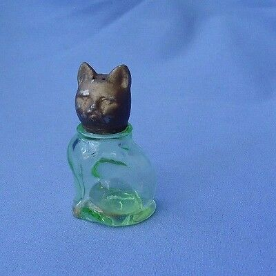 cat w bow  green depression glass salt  shaker 3""