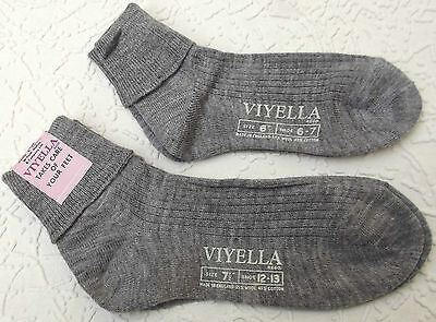 Vintage ankle socks UNUSED childrens school uniform 1960s VIYELLA grey ribbed
