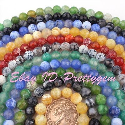 8mm Natural Round Faceted Craceked Fire Agate Gemstone Beads Spacer Strand 15""