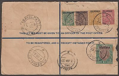 Burma 1937 High Value Franked Regd Stationery Envelope With Overprint On India
