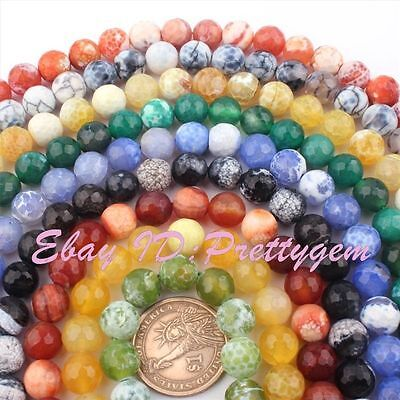 10mm Natural Round Faceted Craceked Fire Agate Gemstone Beads Spacer Strand 15""