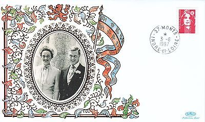 GB BENHAM Silk Cover: KEVIII & Wallace Simpson + 1997 Monts (France) Cancel
