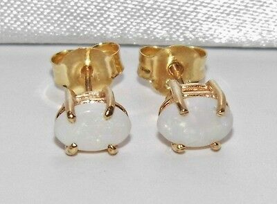 Beautiful 9ct Yellow Gold Natural White Australian Opal Ladies Stud Earrings