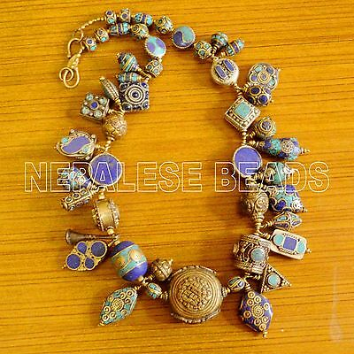 "N2308 Turquoise Lapis  Brass 24"" Necklace Nepalese Tibetan  Nepal"