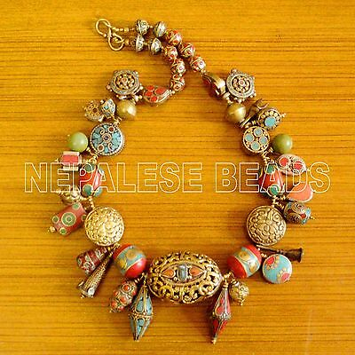 "N2309 Turquoise Coral  Brass 24"" Necklace Nepalese Tibetan  Nepal"