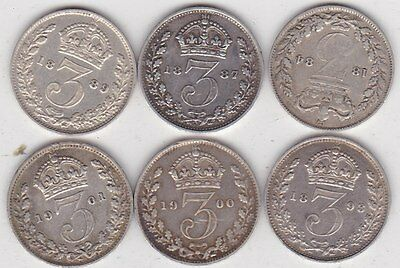 Six Silver Three Pence Coins Dated 1884 To 1901 In Near Very Fine Condition