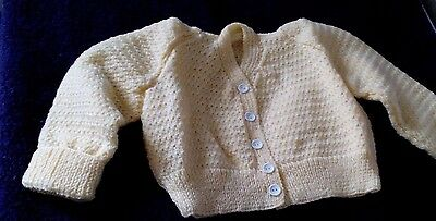 Hand Knitted * Yellow * Baby * Cardigan * Size 3-6 Mths Approx. * New