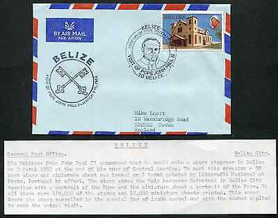 BELIZE: (13343) POPE JOHN PAUL II cancel/cover