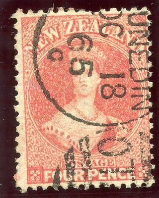 New Zealand 1865 QV 4d deep rose very fine used. SG 119. Sc 34.