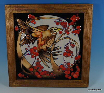 A MOORCROFT REDWING Bird Limited Edition 19/50 Framed Wall Plaque 1st RRP £585