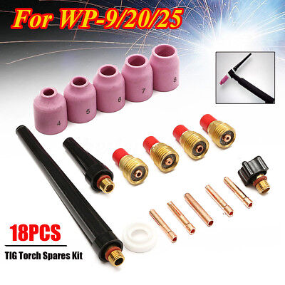 18x TIG Lanthanate Tungste Gas Lens Collet Body Kit Welding Torch For WP-9/20/25