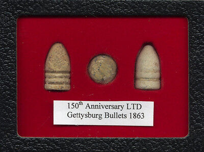 150th Anniversary Gettysburg Battle Civil War 3 bullets display AUTHENTIC relics