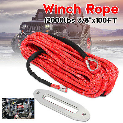12MM*30M Synthetic Rope Hook Winch Cable Black 12000lbs Aluminium Fairlead Cable