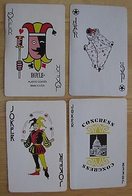 1189 Lot of 4 Vintage Playing Card Jokers