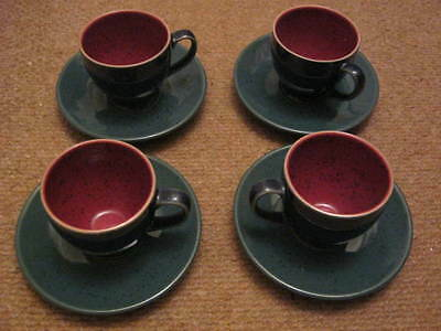 Denby Harlequin Small Espresso Cups and Saucers x 4