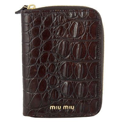 42175 auth MIU MIU dark brown CROCODILE EMBOSSED Agenda Cover