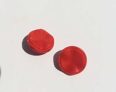Pair Bright Red Vintage Cellulose Acetate Plastic Buttons With Shank 19mm