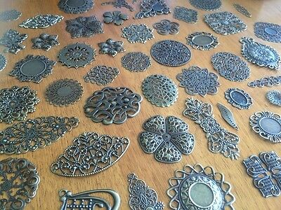 5-80 Bronze Filigree Metal Charm For Scrapbooking or Craft