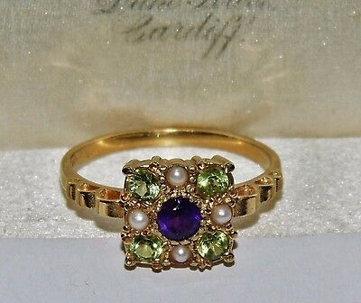 Suffragette 9ct Yellow Gold on Silver Amethyst Peridot Pearl Cluster Ring size Q