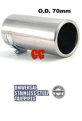 STAINLESS STEEL Car tailpipe Exhaust box Tip Extension Pipe Trim cover 70mm LG