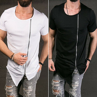 2017 New Men's Tops Tee Shirt Slim Fit Short Sleeve Solid Color Casual T-Shirt