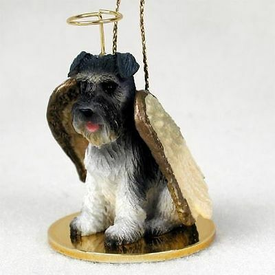Schnauzer Ornament Angel Figurine Hand Painted Gray Uncropped
