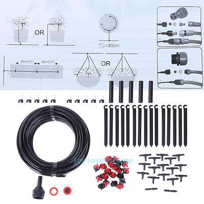 23m Outdoor Garden Water Cooling System Irrigation Pipe Connector Clamp Set Kit