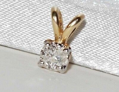 BEAUTIFUL 9 CT YELLOW GOLD 0.15ct DIAMOND SOLITAIRE LADIES PENDANT