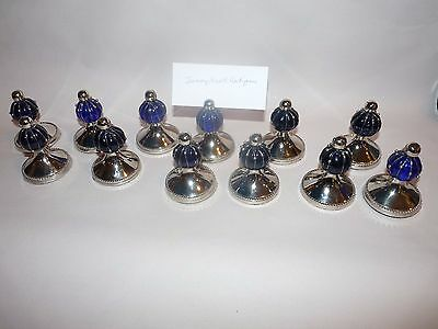 SET/12 Vintage COBALT GLASS Silverplate Place Card Holders Ball Beaded