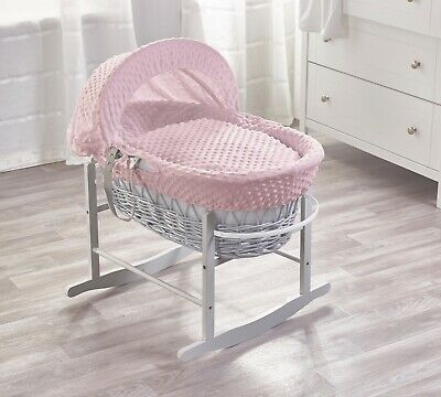 Grey Wicker/Pink Dimple Padded Moses Basket And Grey Rocking Stand