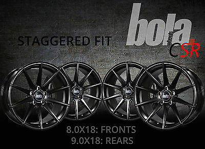 """18"""" BOLA CSR STAGGERED BLACK 5 STUD  4 NEW ALLOY WHEELS Ford FOCUS MK3 ST 15-ON"""