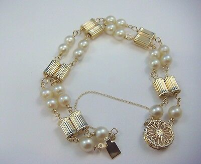 14K Yellow Gold Vintage Gold Bars And 6Mm Genuine Pearls Ladies Bracelet