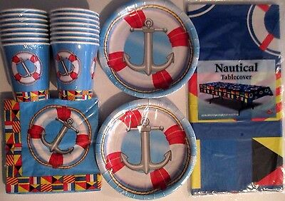 NAUTICAL SAILING Birthday Party Supply Set Pack Kit for 16