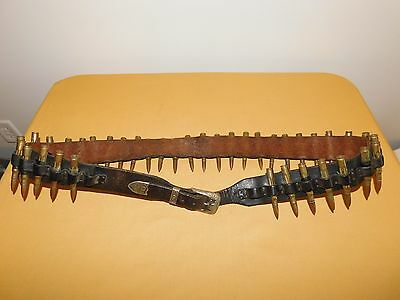 "Vintage Military 1950S 59"" Long Fa  Leather Bullet Belt"