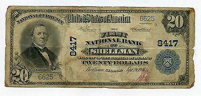 1902 $20 First National Bank Of Shellman (Georgia) Large Size Currency Circ Rare
