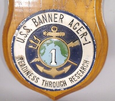 NAVY Ship USS BANNER AGER 1 Cast Aluminum LOGO Plaque READINESS THROUGH RESEARCH