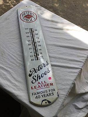 Vintage Peters All Leather Shoes Porcelain Thermometer Sign