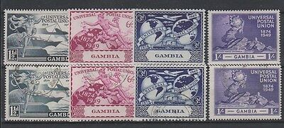 GAMBIA 148-151 1949 UPU set Mint and used