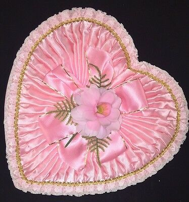 Vintage HEART SHAPED Candy BOX Pink Plastic Flower Satin Lace Valentines Day 13""