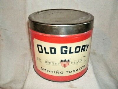 OLD GLORY TOBACCO CAN.  Store Can.  Held 25cent Plugs