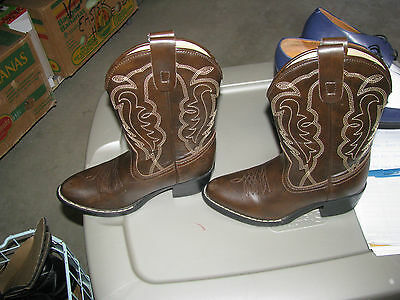 Express Rider Cowboy Boots Boys Girls Unisex Size 1 Faux Leather Brown Black