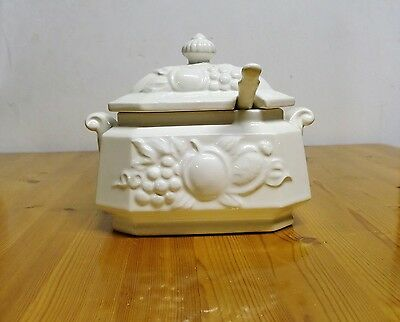 Over & Bach Off White Soup Tureen with Lid & Ladle Japan Fruit Pattern
