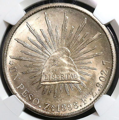 1898-Zs NGC MS 62 MEXICO Cap & Rays Silver Peso Coin POP 10/8 (16111502C)