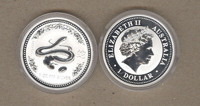 2001 Australia Lunar Series One Ounce Silver Year Of The Snake Coin