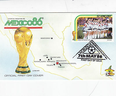 St Vincent 1986 World Cup Mexico SCOTLAND FDC Unadressed
