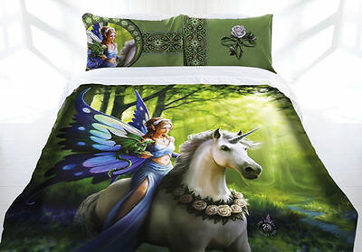 Anne Stokes Realm Of Enchantment Fairy Unicorn Mythical Quilt Cover Set Single