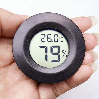 Round Digital LCD Humidity Meter Thermometer Hygrometer Indoor/Outdoor Room